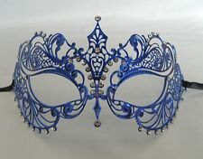 Blue Filigree Metal Masquerade Mask Silver Diamonte - Express Post Available