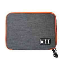 Nylon Dual Layer Travel Phone Pad Charger Accessories Organizer Bag S-Grey