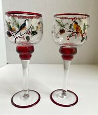 Set of 2 Yankee Candle Tall Stem Votive Winter Birds Crackle Glass Christmas
