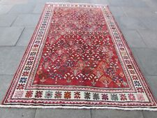 Vintage Hand Made Traditional Rug Oriental Wool Red Pink Long Rug 281x177cm