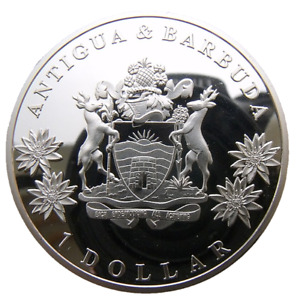 ANTIGUA & BARBUDA BRITISH CARIBBEAN 1 DOLLAR 2014 40mm PROOFLIKE 200PCS MINTAGE