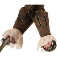 Pirate Buccaneer Brown Wrist Cuffs Sleeves Adult Male Costume Accessory NEW