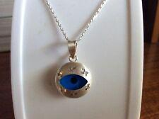 REAL 925 STERLING SILVER  EVIL EYE BLUE PENDANT TURKISH NAZAR NECKLACE  N-1197