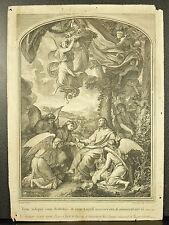 Gravure religieuse Tardieu Pierre Drevet a Ch Le Brun Tunc reliquit eum diabolus
