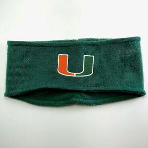 adidas University of Miami U of M Knit Headband Ear Warmer - Green OSFA