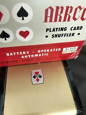 Vintage Arrco Black & Gold Playing Card Shuffler No.750  Battery Operated w/Box