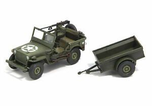 S-Model US Army 1/72 Willys Jeep With trailer Finished Product #CP0606