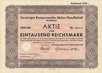 Vereinigte Rumpus Werke Aktie 1941 MönchenGladbach Waldniel Giesenkirchen Textil