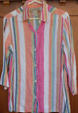 LINEN Blouse Jones New York 14 Womens L Shirt Striped Top 3/4 Sleeves WS247
