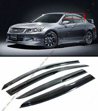 FOR 2008-12 8TH GEN HONDA ACCORD SEDAN 3D WAVY SMOKE WINDOW VISOR RAIN/SUN GUARD