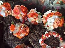 WEDDING FLOWERS BRIDAL BOUQUETS deco COMPLETE PACKAGE salmon orange