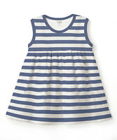 NWT TESA BABE Girls BOUTIQUE Ivory Blue Striped Sleeveless Dress 18-24 Months