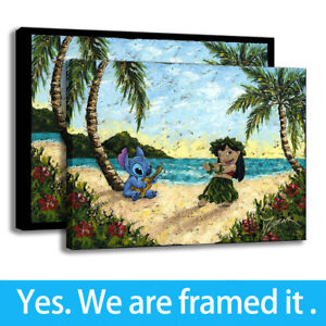 Decor Art Picture HD Prints Painting on Canvas Lilo and Stitch Ohana Hula,Framed