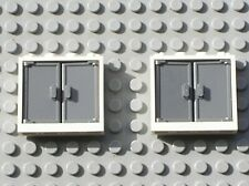 2 x LEGO White Window 1x4x3 with Door Ref 60594 60614 Set 7642 10278 10224