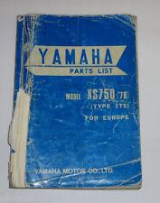Ersatzteilliste / Spare Parts List Yamaha XS 750 / XS750 '78 Stand 10/1977