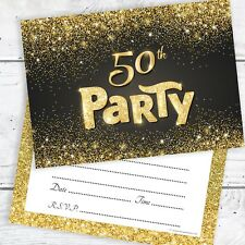 50th Birthday Invitations Black and Gold Glitter Effect with Envelopes (Pack 10)