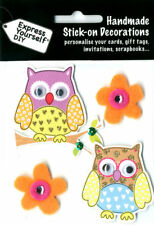 Stick-on owls & flowers for personalising cards, tags, gifts, scrapbooks