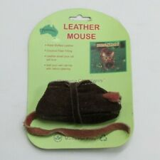 Aussie Naturals Leather Mouse Cat Toy Opening for Catnip 100% Natural Fibres