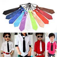 1 X School Boys Wedding Elastic Tie Fashion Necktie Kids Solid Colour Ties  WD