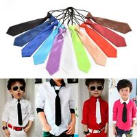1 X School Boys Wedding Elastic Tie Fashion Necktie Kids Solid Colour Ties  Jq