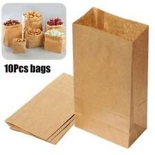 10pcs Brown Kraft Paper Gift Bags Food Bread Shopping Candy Packaging Bags