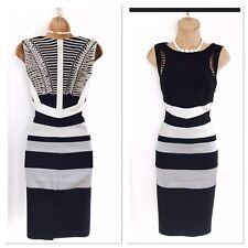 Stunning KAREN MILLEN Black Colour Block/Back Detail Wiggle Pencil Dress Uk10-12
