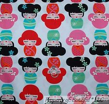 BonEful Fabric FQ Cotton Quilt White Red Pink L Japan Asian Oriental Doll Flower