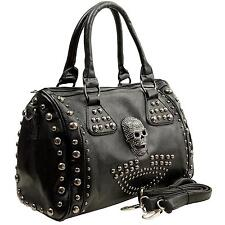 MG Collection Howea Gothic Studded Doctor Shoulder Bag Black One Size