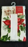 "St. Nicholas Square Oblong 60 x 84"" Fabric Tablecloth - Poinsettia Border Ivory"