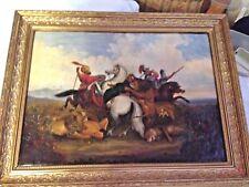 Ölbild,auf Leinwand gemalt,Osmanische Reiter im Löwenkampf 70x55 /55x40