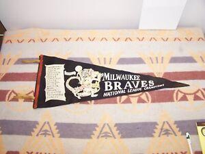 1957 BRAVES NATIONAL LEAGUE CHAMPIONS PENNANT AARON SPAHN HANEY MGR.