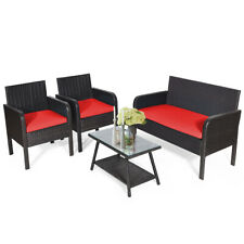 4PCS Patio Rattan Wicker Furniture Set Conversation Sofa Bench Cushioned Red
