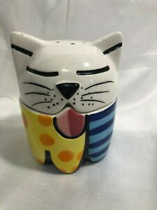 Signed Romero Britto Cat Salt and Pepper Shakers Set Stacked