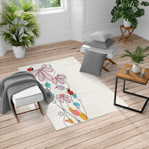 Ambesonne Flowers Oval Dome-Shaped Ladybugs Area Rug for Living Room Decor