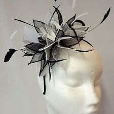 Black/White Sinamay and Feather Fascinator For Races, Proms , Weddings