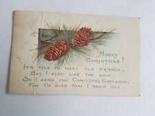 Greeting Postcard Vintage Christmas PInecone