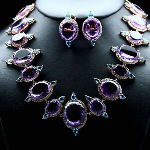 NATURAL SET VVS PURPLE AMETHYST, SWISS TOPAZ & WHITE ZIRCON CAMBODIA 925 SILVER