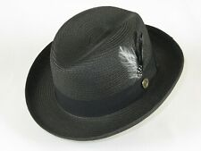 Men Bruno Capelo Summer Soft Straw Style Hat Godfather GF200 Black Free Shipping