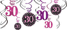 30th Birthday Party Supplies PINK SWIRL DECORATIONS Pack Of 12