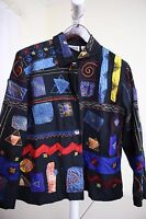 Chico's Rayon Blend Multi-Colored W/Embroidered Patches Button Down Jacket - 16