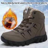 LeatherWinter Boots Fleece Lined Thickened Waterproof Non-slip Men Shoes Booties
