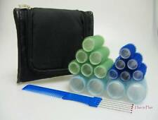 Travel Self Grip Roller Set - Med & Small Sizes -  Backcombing Comb & Wella Case