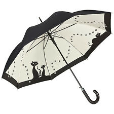 Von Lilienfeld Designer Automatic Walking Umbrella Double Layer Black Cats Gift