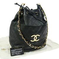 Authentic CHANEL Cosmos Line Drawstring Chain Shoulder Bag Black NR11788d
