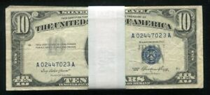 LOT OF (50) 1953 $10 BLUE SEAL SILVER CERTIFICATES CURRENCY NOTES VG-VF