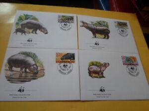 Liberia 1984 Wwf Pygmy Hippopotamus 4 FDC First Day Covers