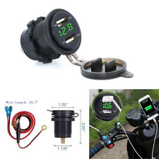 3.1A 12V-24V Dual USB Green LED Voltmeter Charger Socket for Motorcycle Car Boat