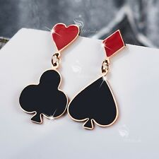 18k rose gold gp stainless steel red black spade heart club diamond stud dangle