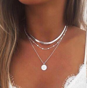 Silber Halskette Muschelkette Damen Halsketten Schlangen Link Kette Choker 50 cm