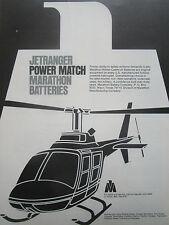 5/77 PUB MARATHON NICKEL CADMIUM BATTERIES BELL JETRANGER HELICOPTER ORIGINAL AD